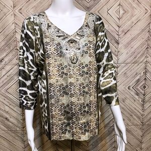Chicos 1 animal print shirt, beaded neck line